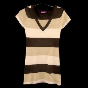 Say What? Sweater Dress XS Super Soft Brown Cream